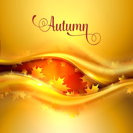 wave abstract: Abstract gold background with curved wave stripes in vibrant autumn colors with leaves. Back to school. Vector illustration.