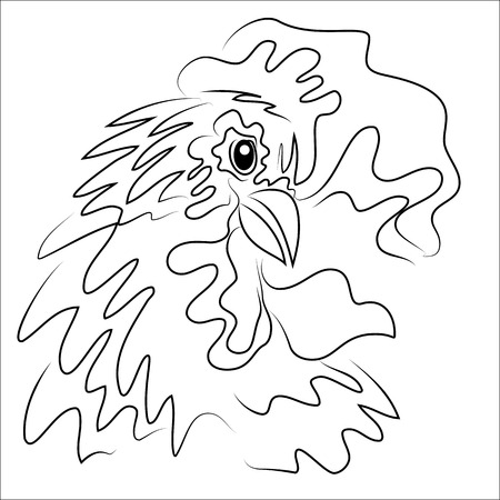 bird illustration: Hand drawn free style sketch of rooster, symbol of new year. Vector Illustration.