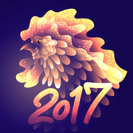 artistically: Artistically drawn bright fire rooster on dark background. Symbol 2017 New year. Vector illustration