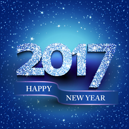 greetings card: Happy new year 2017 blue background. New Year greetings card. Vector illustration
