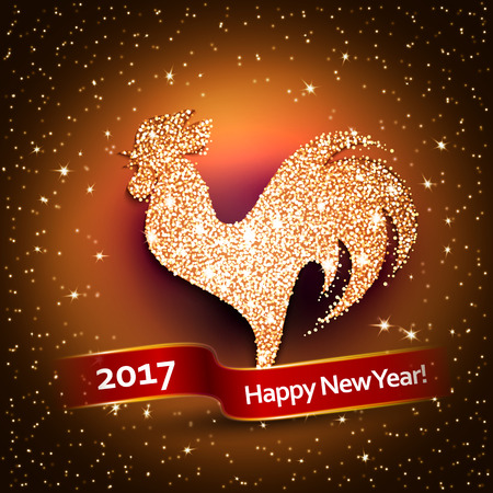 Happy New Year 2017 Background With Gold Shiny Rooster Silhouette ...