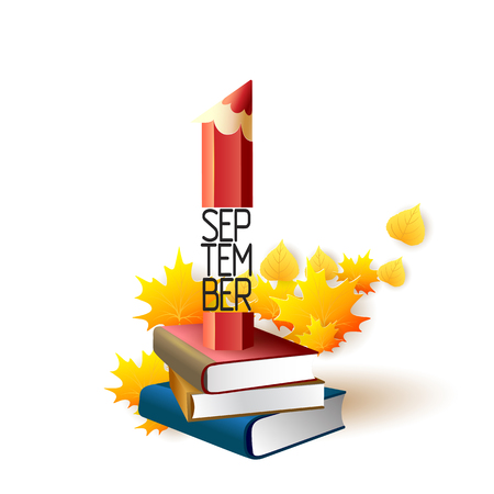 September 1st. Back To School background with pencil, books and leaves. Poster, greeting card or brochure template. Vector illustration.
