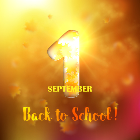 September 1st. Back To School background withwith gold maple leaves and bokeh lights with sunny sky. Poster, greeting card or brochure template. Vector illustration. Illustration