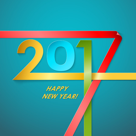 color of year: Creative text 2017 with different color strips on blue background. New year graphic design creative card. Vector illustration Illustration