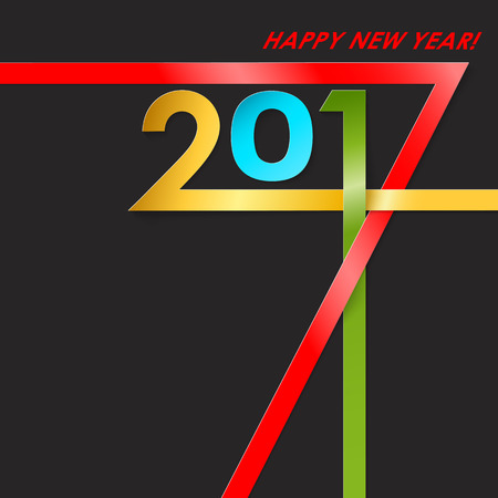 color of year: Creative text 2017 with different color strips on black background. New year graphic design creative card. Vector illustration