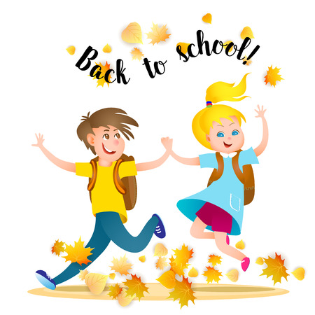 pupils: Two pupils, boy and girl running to school holding hands with autumn leaves. Back to school. Vector illustration.