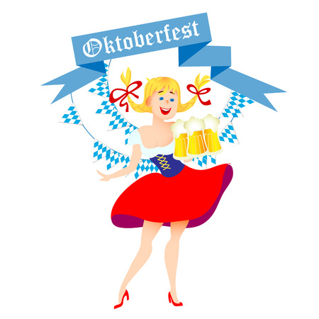 german beer: Cute cartoon Oktoberfest german girl waitress in traditional clothes with beer. Vector illustration