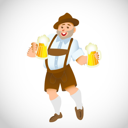 anciano: Bavarian man celebrating oktoberfest with a big glass of beer. Vector illustration Vectores
