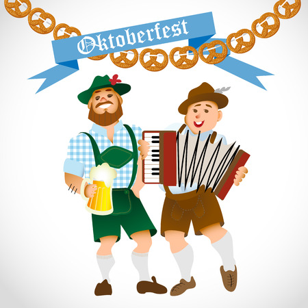 lederhosen: Bavarian men celebrating oktoberfest with a big glass of beer. Vector illustration Illustration