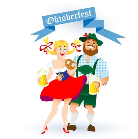 ババリア地方の男性と女性の大きな杯のビールでオクトーバーフェストを祝ってします。ベクトル図