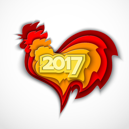simbol: Happy New Year 2017. Red rooster chinese simbol of year. Vector illustration in color paper cut style.