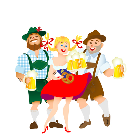 Bavarian men and woman celebrating oktoberfest with a big glass of beer. Vector illustration Illustration
