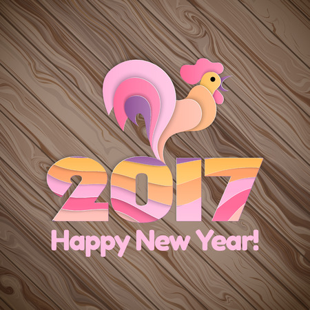 winter background: Happy New Year 2017 and christmas on the wooden background. Winter holidays concept. Year of rooster. illustration