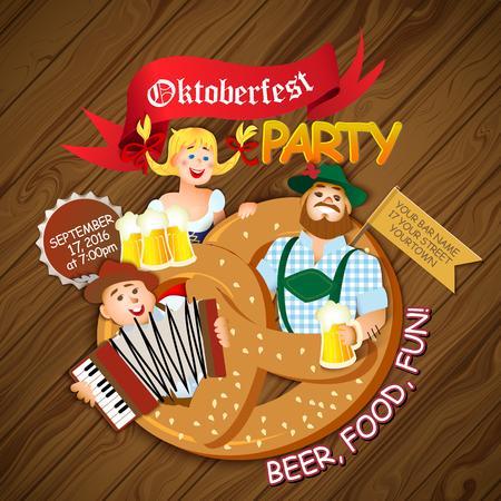 hombre tomando cerveza: oktoberfest partido. Muchacha y dos hombres con cerveza. ilustración de dibujos animados plana Vectores
