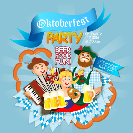 oktoberfest background: Oktoberfest party . Girl and two men with beer.  flat cartoon illustration