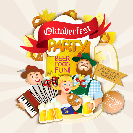 bavarian girl: Oktoberfest party . Girl and two men with beer. flat cartoon illustration Illustration