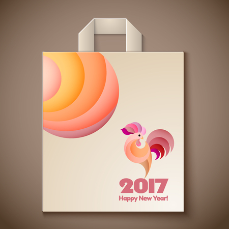 modern illustration: Happy New Year 2017 and christmas template on the wooden background. Year of rooster design for paper bag.  illustration