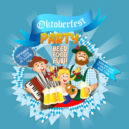 Oktoberfest party . Girl and two men with beer. flat cartoon illustration Illustration