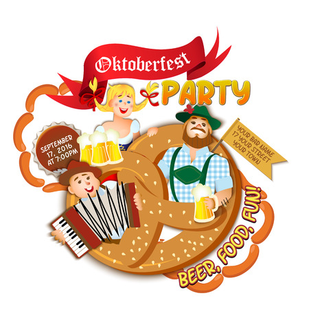 bavarian girl: Oktoberfest party on white background. Girl and two men with beer in big pretzel. flat cartoon illustration Illustration