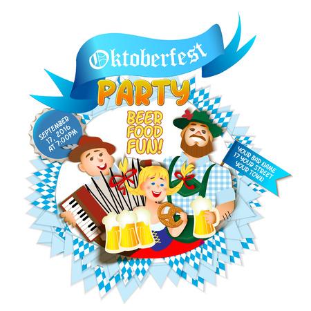 Oktoberfest-Party auf weißem Hintergrund. Mädchen und zwei Männer mit Bier. flache Karikatur Illustration Standard-Bild - 63840931