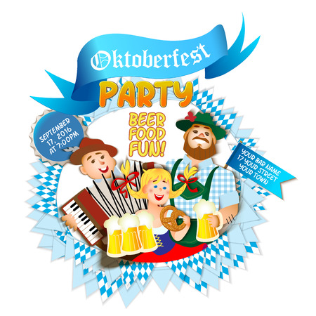 two men: Oktoberfest party on white background. Girl and two men with beer. flat cartoon illustration