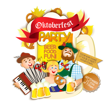 party girl: Oktoberfest party on white background. Girl and two men with beer. flat cartoon illustration