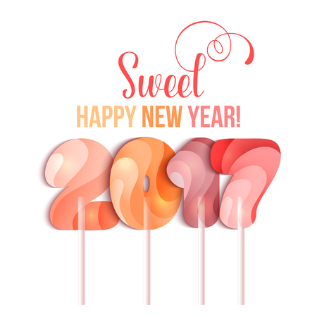 candy stick: New Year 2017 in shape of candy stick isolated on white. Year number as striped holiday candies. design element for christmas, new years day, sweet-stuff, winter holiday, new years eve, food