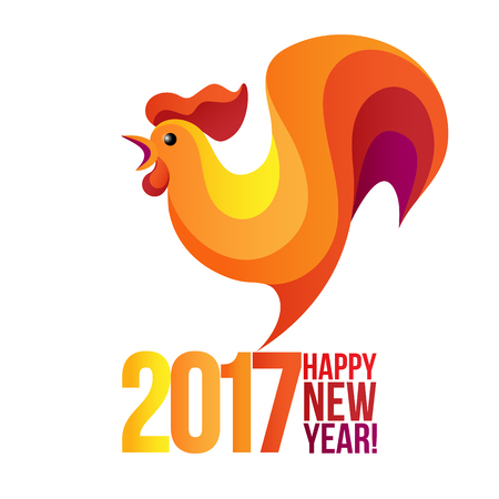 illustration of rooster, symbol of 2017 on the Chinese calendar. Silhouette of red cock, decorated with rays.  element for New Years design