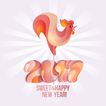 sweetstuff: Sign New Year 2017 rooster in shape of candy on stick. Year number and rooster striped holiday candies. design element for christmas, new years day, sweet-stuff, winter holiday, new years eve