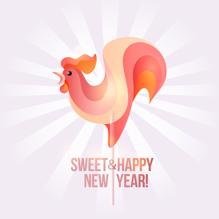 new year eve: Sign New Year 2017 rooster in shape of candy on stick. Year number and rooster striped holiday candies. design element for christmas, new years day, sweet-stuff, winter holiday, new years eve
