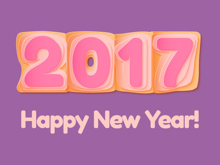 happy web: Happy New Year 2017 scoreboard illustration. Design for greeting card, poster or web pages for celebrating. Illustration