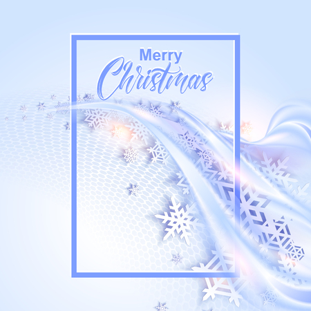 blue snowflakes: Shine blue winter background with snowflakes for christmas design. illustration Illustration
