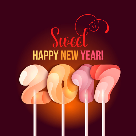 sweetstuff: Sign New Year 2017 in shape of candy on stick. Year number striped like holiday candies. design element for christmas, new years day, sweet-stuff, winter holiday, new years eve