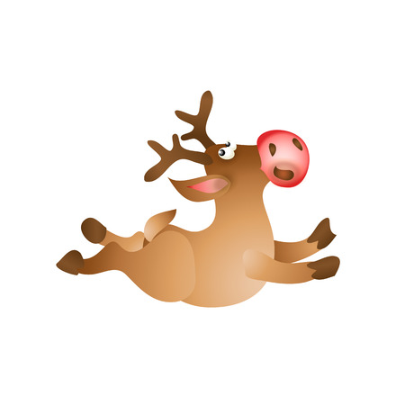 red nosed: Happy Christmas reindeer jump on white background. Cartoon illustration