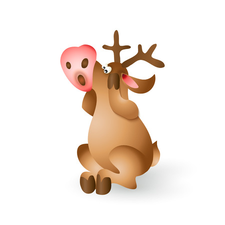 Happy Christmas pop-eyed reindeer sitting on white background. Cartoon illustration Illustration