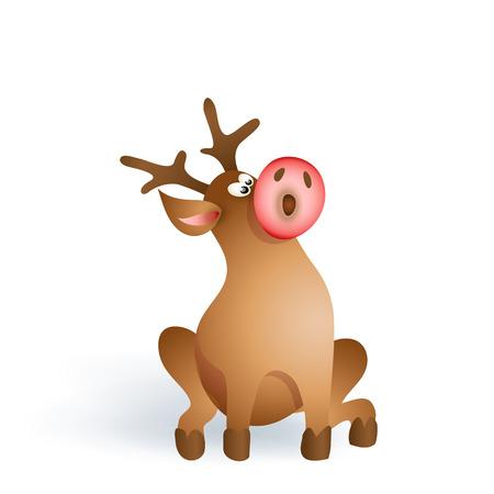 red nosed: Happy Christmas pop-eyed reindeer sitting on white background. Cartoon illustration Illustration