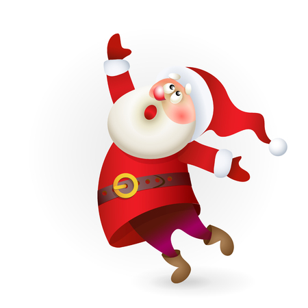 Santa Claus singing Christmas song. Merry Christmas banner. Christmas illustration with Santa isolated on white background.
