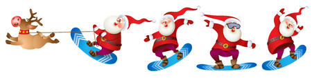 Set of Santa snowboarding. Merry Christmas card with snow landscape.