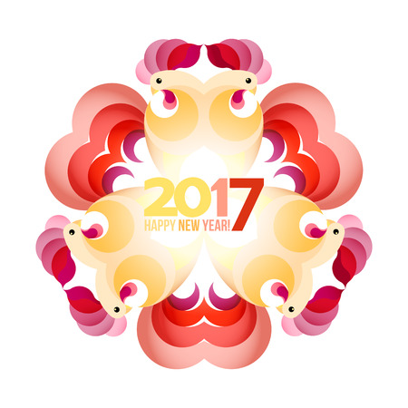 chinese astrology: Circle frame rooster. Chinese animal astrology sign rooster isolated white background symbol 2017 New Year, Christmas card.