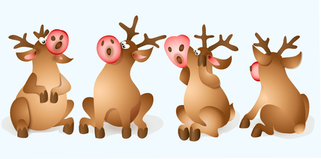 Set of Christmas Reindeer. Cartoon Character of deer. Illustration