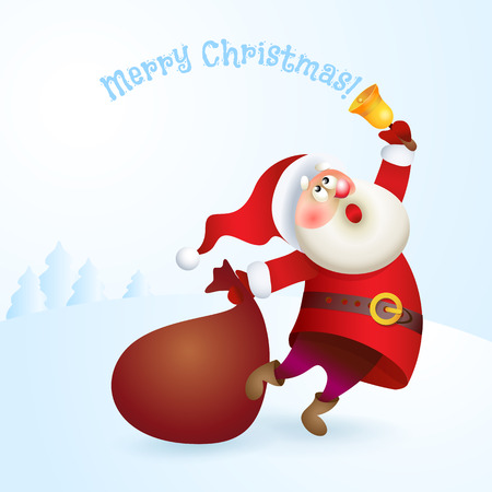 oldman: Santa Claus with a bag and bell. Illustration
