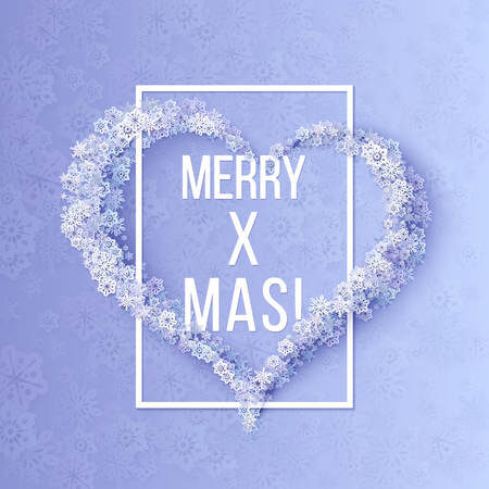 winter vector: Christmas greeting card with heart from snowflakes. Winter Vector purple background Illustration
