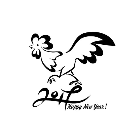 vector art: Rooster black line art sketch of cock. Vector illustration of rooster, symbol 2017 Chinese calendar.