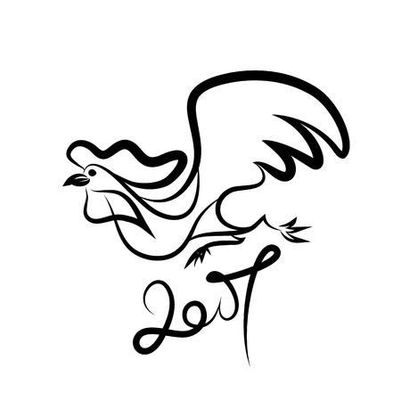 Rooster black line art sketch of cock. Vector illustration of rooster, symbol 2017 Chinese calendar.