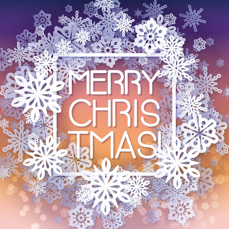 Round snow frame with Merry Christmas text.. Winter frame made of snowflakes of various size. Circle shape. New Year, Christmas yellow and purple abstract background.