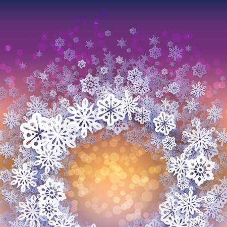Round snow frame with place for text. Winter frame made of snowflakes of various size. Circle shape. New Year, Christmas yellow and purple abstract background.