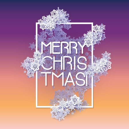 Snow frame with Merry Christmas text.. Winter frame made of snowflakes of various size. New Year, Christmas yellow and purple abstract background. Illustration