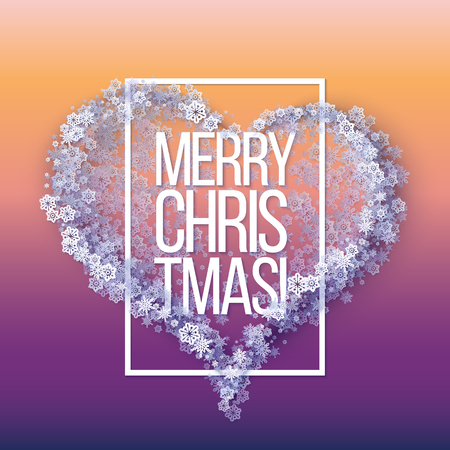 Snow frame with Merry Christmas text.. Winter frame Heart made of snowflakes of various size. New Year, Christmas pink and purple abstract vector background.