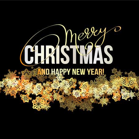 fondo elegante: Elegant Christmas Background with Shining Gold Snowflakes. Vector illustration