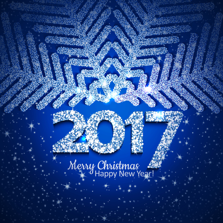 text year: Blue abstract Christmas snowflake and 2017 New Year text with lights and sparcles. Vector illustration